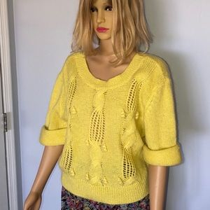 Anthropologie yellow fluffy cropped sweater